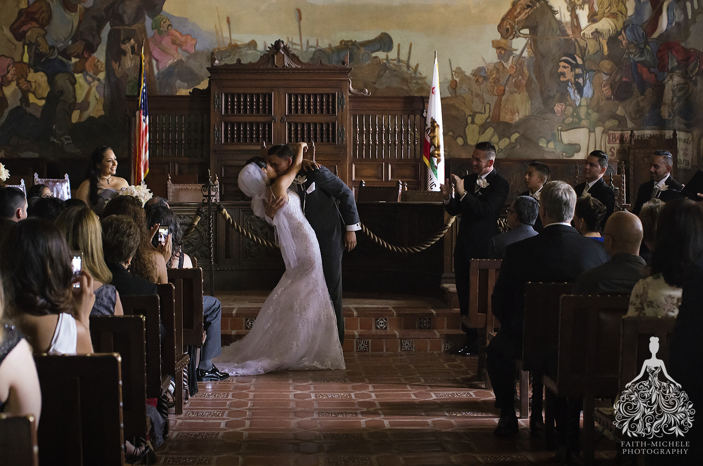 Mural Room Santa Barbara Courthouse Wedding Photo